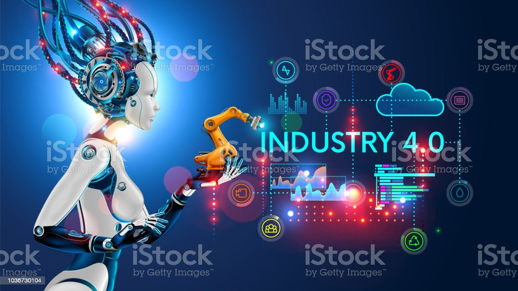 Concept Industry 4.0. Artificial intelligence automation of product manufacturing on smart factory. vector art illustration