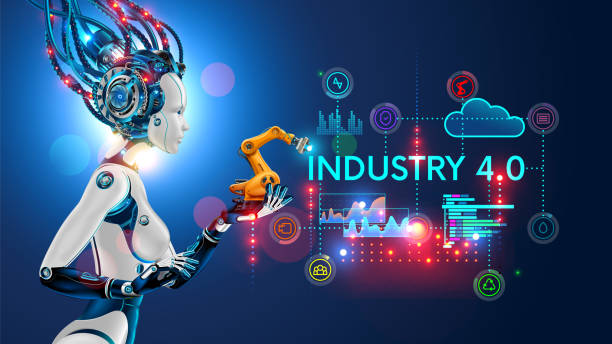 concept industry 4.0. artificial intelligence automation of product manufacturing on smart factory. - przemysł stock illustrations