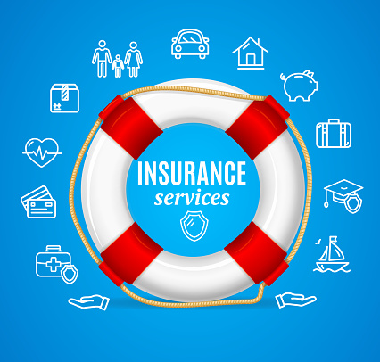 Concept Insurance Support Service. Vector