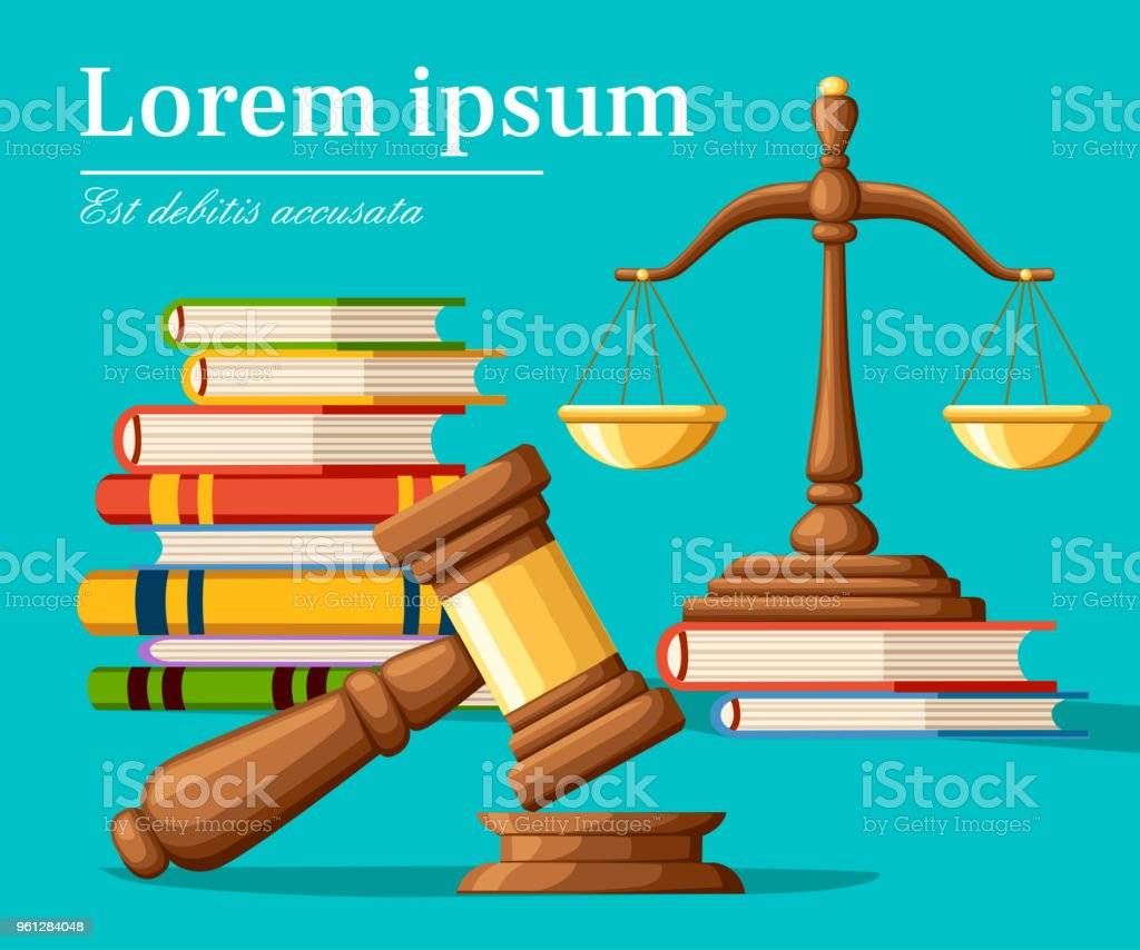 Concept justice in cartoon style. Justice scales and wooden judge gavel. Law hammer sign with books of laws. Legal law and auction symbol. Vector illustration isolated on turquoise background vector art illustration