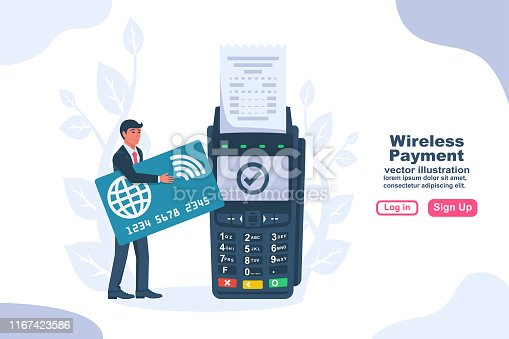 NFC concept. Landing page contactless payment. Non-cash payment transactions. Pos terminal and a businessman with a bank card. Financial transactions payment system. Vector illustration flat design.
