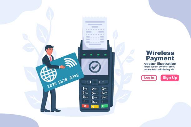 ilustrações de stock, clip art, desenhos animados e ícones de nfc concept. landing page contactless payment. vector flat - paying with card