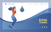 Concept landing page or banner for boxing training studio or class with young bright woman workout with punching bag. Blue vivid gradient waves and active character.