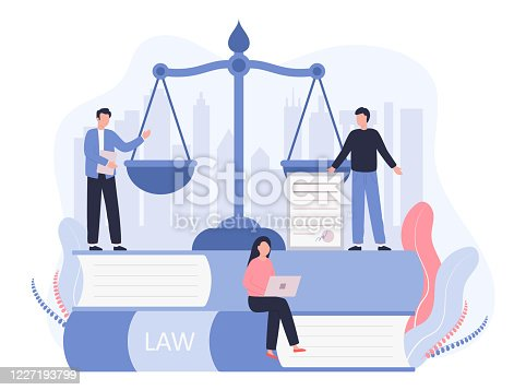 istock Concept Law, Justice. Legal service, services of a lawyer, notary. Men against the backdrop of the city discuss legal issues, a woman works on a laptop. Vector flat illustration on a white background 1227193799