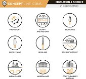 History periods line icons in white isolated background used for school and university education and document decoration, create by vector