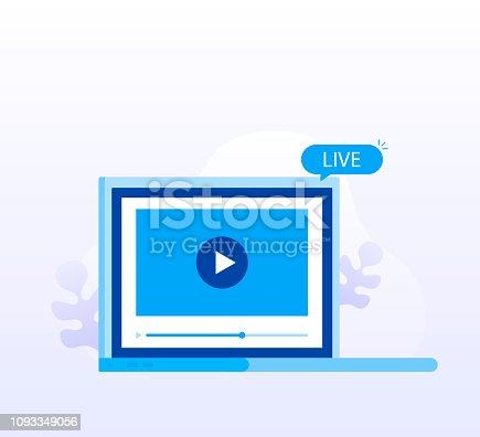 1029147344 istock photo Concept live streaming for web page, banner, presentation, social media, documents. Watch video online. Modern flat style vector illustration 1093349056