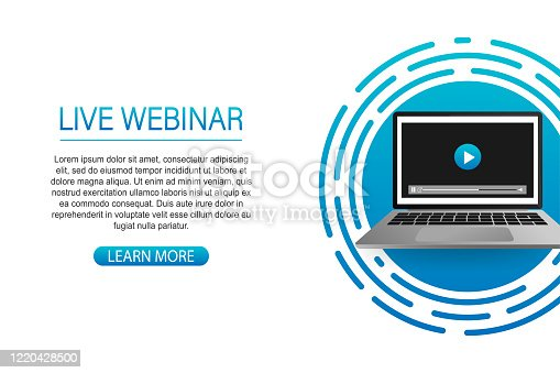 istock Concept live webinar for web page, banner, presentation, social media, documents. Watch video online. 1220428500