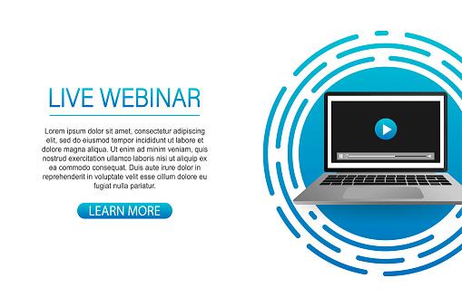 Concept live webinar for web page, banner, presentation, social media, documents. Watch video online.
