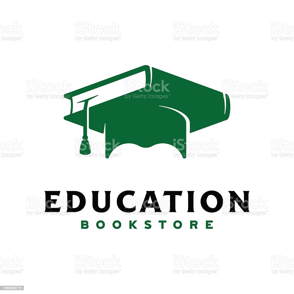 Concept logo. Graduation cap with textbook. – Vektorgrafik