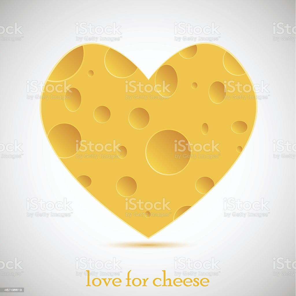Concept love for cheese. vector illustration royalty-free stock vector art