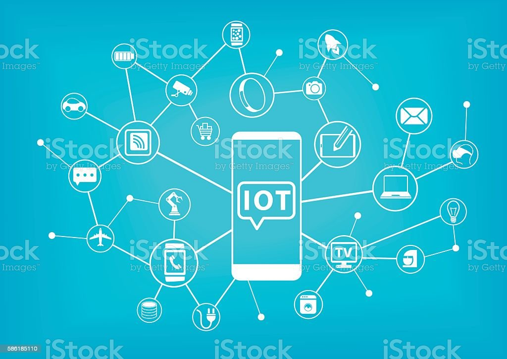 IOT (internet of things) concept. Mobile phone connected vector art illustration
