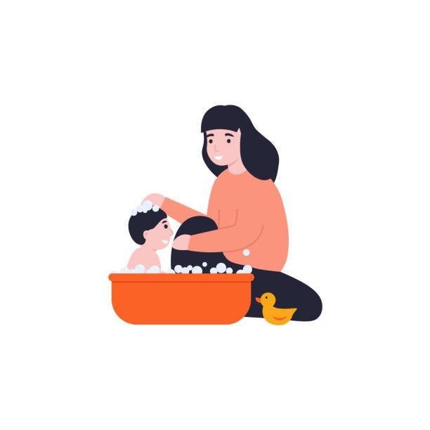 bildbanksillustrationer, clip art samt tecknat material och ikoner med koncept mamma badar sitt barn - baby bathtub