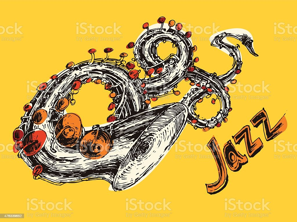 JAZZ Concept, Music Engraved, Hand Drawn, Sketch vector art illustration