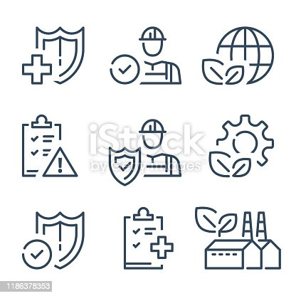 HSE concept, occupational safety and health administration, production factory and environment, medical insurance, labor preventive instructions, worker protection, vector line icon