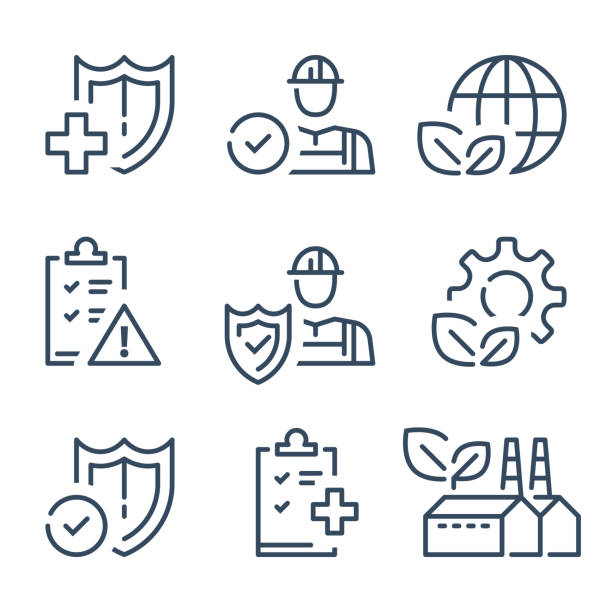 ilustrações, clipart, desenhos animados e ícones de conceito hse, administração de segurança e saúde ocupacional, fábrica de produção e meio ambiente - work