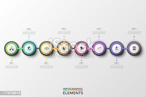 Eight round elements or links with thin line symbols inside arranged into horizontal chain and connected. Concept of 8 steps of successive development. Infographic design template. Vector illustration.
