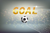 Concept of a goal is represented by a message and a soccer ball that goes into the net with colorful circle Bokeh on gradient blue background. Illustration design.