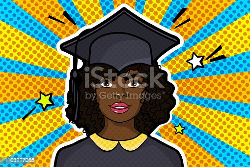 Concept of a graduating class. Afro American Girl in Graduation cap in pop art style on blue and yellow rays background. Vector illustration.