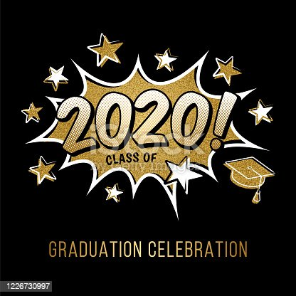 Concept of a graduating class of 2020. Numbers with graduation cap in pop art style on black background. Vector illustration. Stock illustration