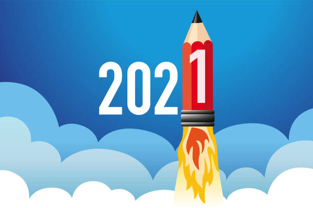Concept of a greeting card for the year 2021, showing a pencil in the shape of a rocket. vector art illustration