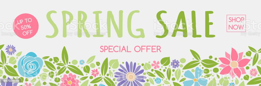 Concept Of A Header With Colorful Flowers For Spring Sale Vector