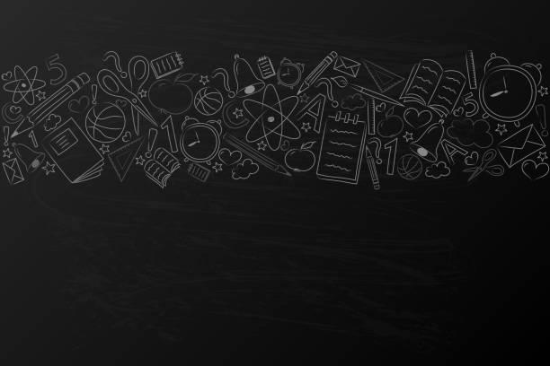 ilustraciones, imágenes clip art, dibujos animados e iconos de stock de concepto de un cartel con mano dibujado accesorios. vector. - regreso a clases