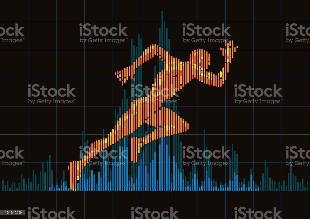 Concept of a running man and digital equalizer. vector art illustration
