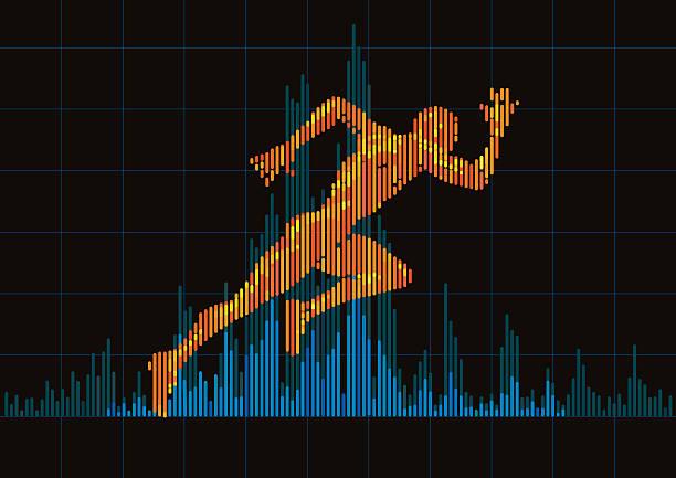 Concept of a running man and digital equalizer. vector art illustration