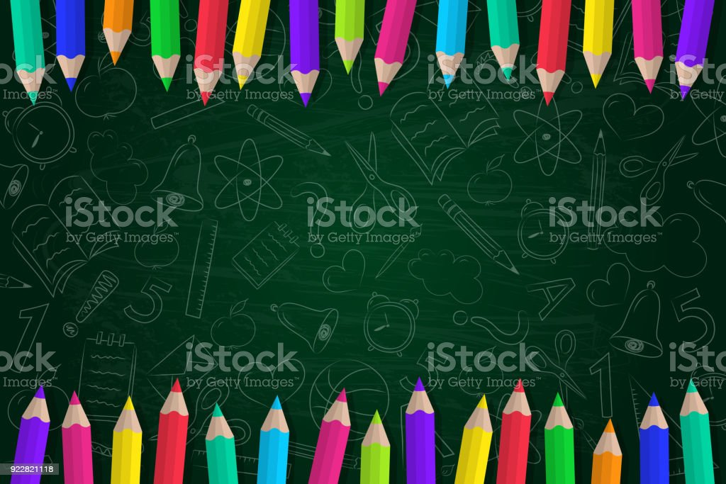 Concept of a school background with coloured pencils and cute doodles. Vector. - arte vettoriale royalty-free di Accessorio personale