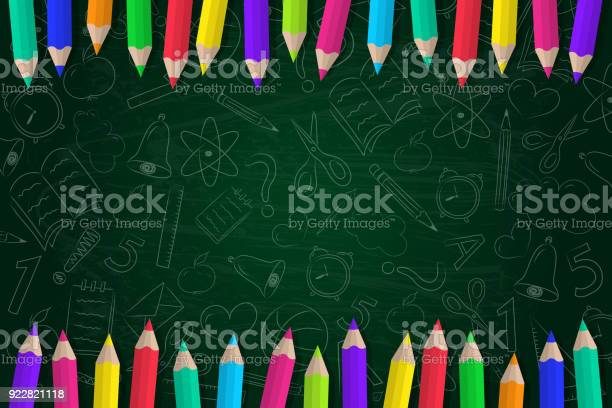 Concept Of A School Background With Coloured Pencils And Cute Doodles Vector Stock Illustration - Download Image Now