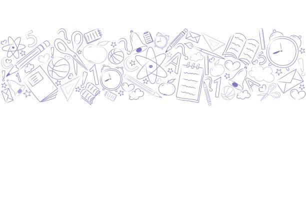 ilustraciones, imágenes clip art, dibujos animados e iconos de stock de concepto de un fondo de escuela con peña. vector. - regreso a clases