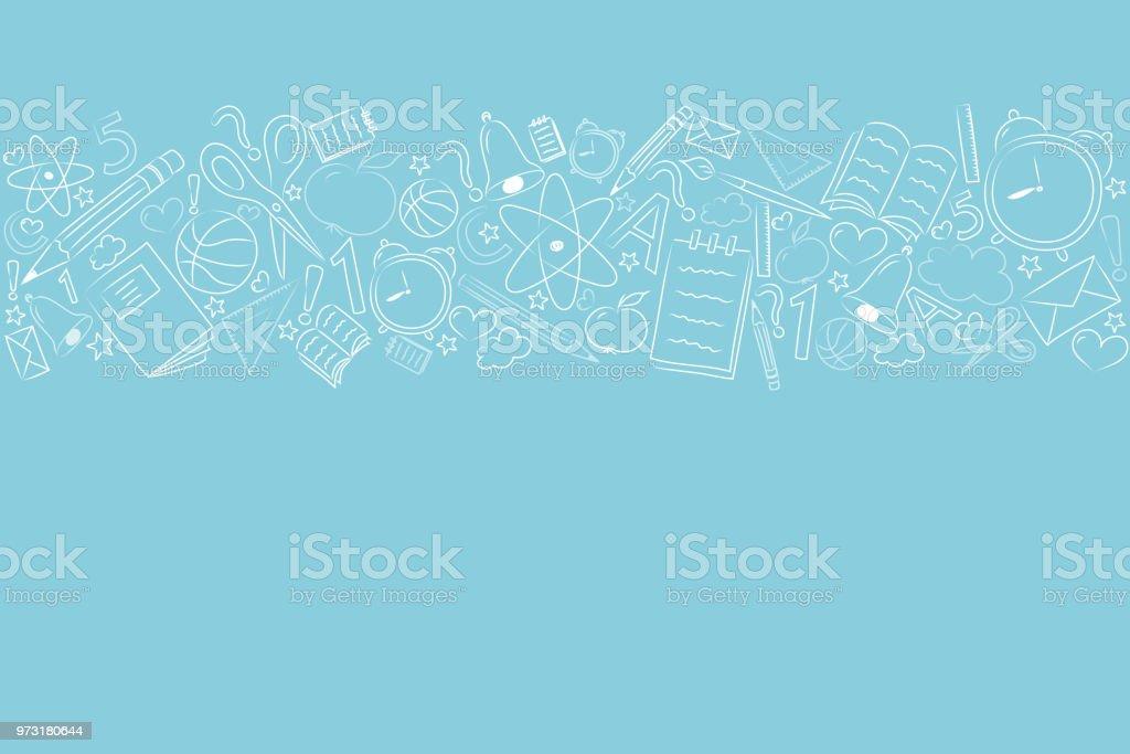 Concepto de una bandera de la escuela con mano dibujado elementos. Vector. - ilustración de arte vectorial