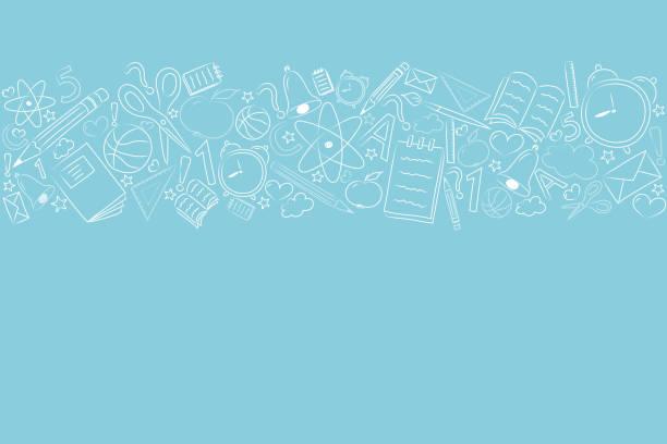 ilustraciones, imágenes clip art, dibujos animados e iconos de stock de concepto de una bandera de la escuela con mano dibujado elementos. vector. - regreso a clases