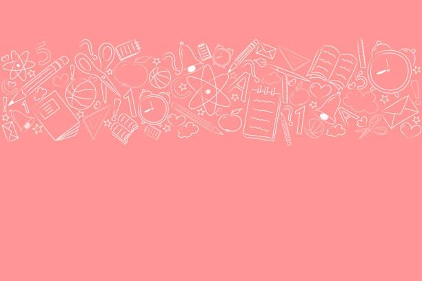 ilustraciones, imágenes clip art, dibujos animados e iconos de stock de concepto de un cartel de la escuela con mano dibujado accesorios - plantilla de un cartel. vector. - regreso a clases