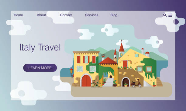 ilustrações de stock, clip art, desenhos animados e ícones de concept of a travel site. tour, trip to italy. illustration of italian village or small authentic town on coast - ivy building
