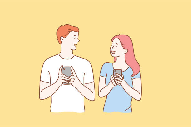 Concept of a young couple in love excited man and woman smiling. Boy and Girl meet or talk, both using mobile phones Concept of a young couple in love excited man and woman smiling. Boy and Girl meet or talk, both using mobile phones. Cartoon flat Design Isolated Vector illustration good news stock illustrations