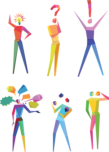 Concept of abstract polygonal people