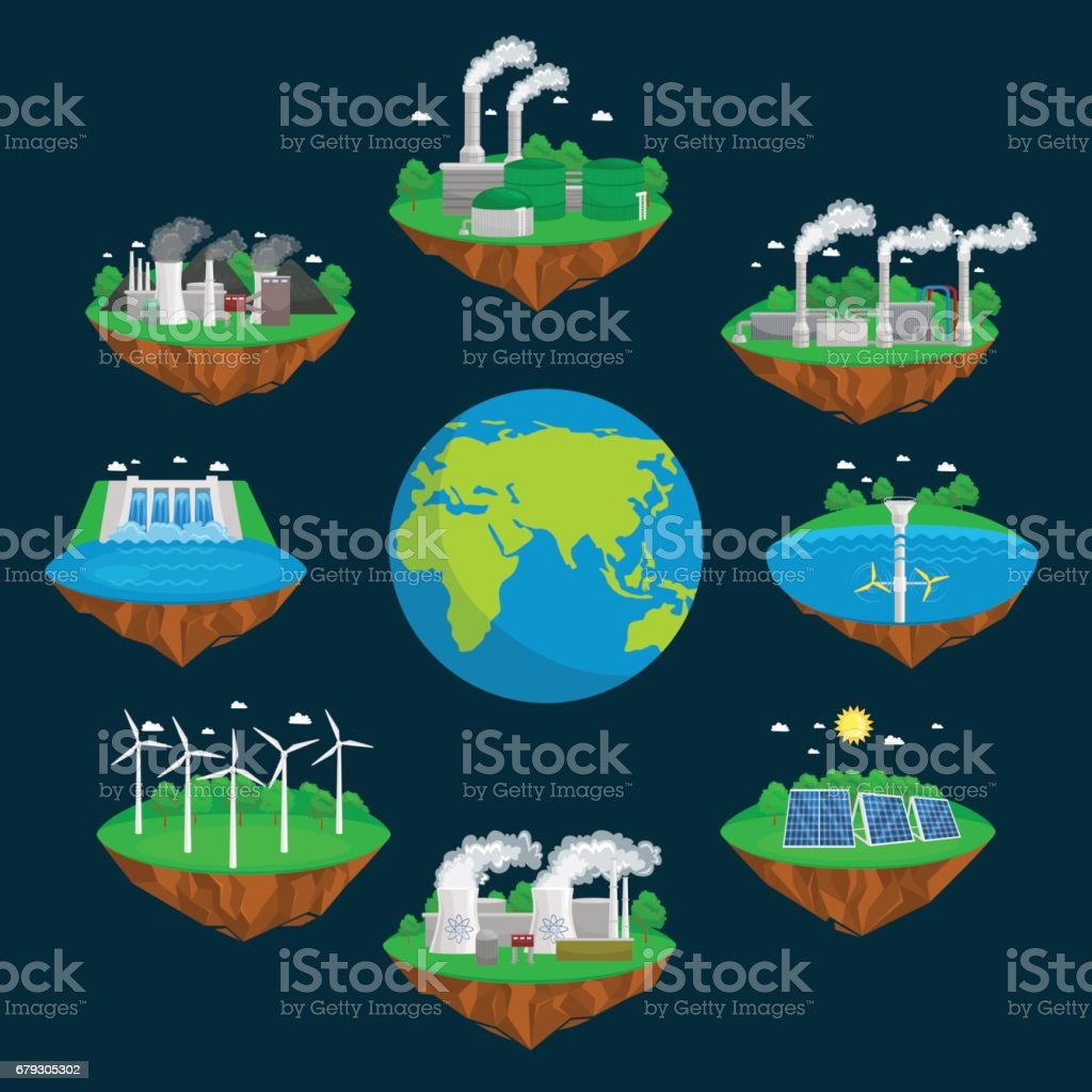 concept of alternative energy green power, environment save, renewable turbine energy, wind and solar ecology electricity, ecological industry vector illustration royalty-free concept of alternative energy green power environment save renewable turbine energy wind and solar ecology electricity ecological industry vector illustration stock vector art & more images of alternative energy