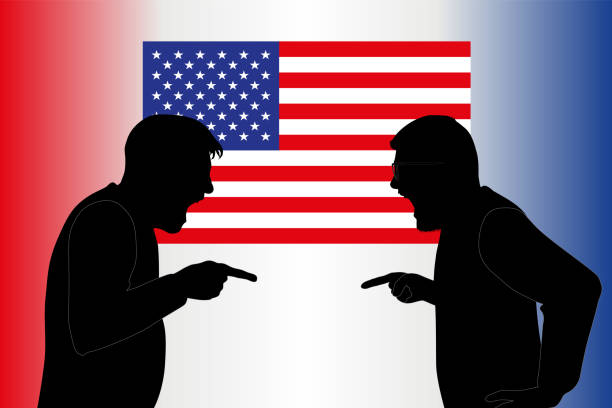 Concept of American opinion, fractured before the election of the President of the United States. vector art illustration