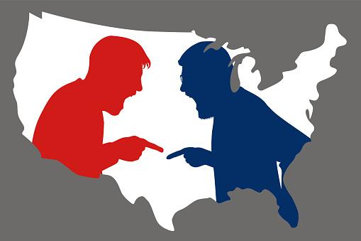 Concept du clivage radical dans l'opinion américaine, symbolisée par une opposition farouche entre un républicain et un démocrates.