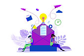 istock concept of an e-mail message, a new incoming sms, a large person climbs out of the envelope and notifies the message, mail notification sending 1330606023