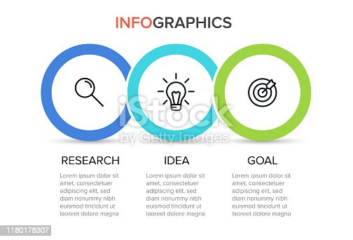 Concept of arrow business model with 3 successive steps. Three colorful elements. Timeline design for brochure, presentation. Infographic design layout.