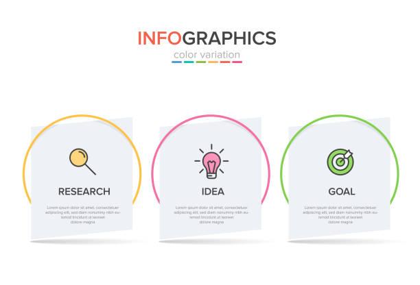 stockillustraties, clipart, cartoons en iconen met concept van arrow business model met 3 opeenvolgende stappen. driekleur rijke grafische elementen. tijdlijn ontwerp voor brochure, presentatie. infographic ontwerp lay-out. - drie personen