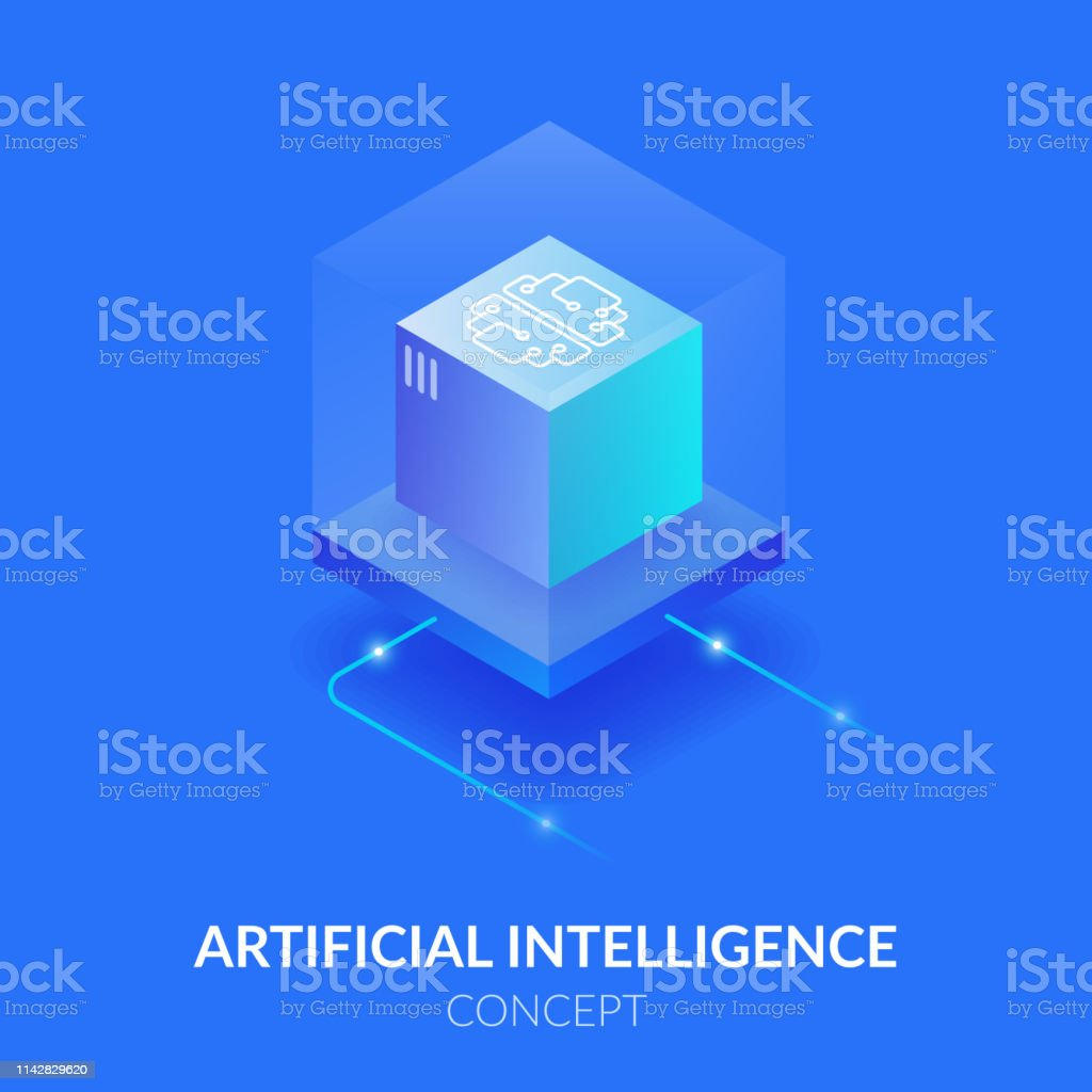 Concept of artificial intelligence. Machine mind in the form of a cube. Processing a large amount of data. The virtual reality. Concept of artificial intelligence. Machine mind in the form of a cube. Processing a large amount of data. The virtual reality. Artificial stock vector