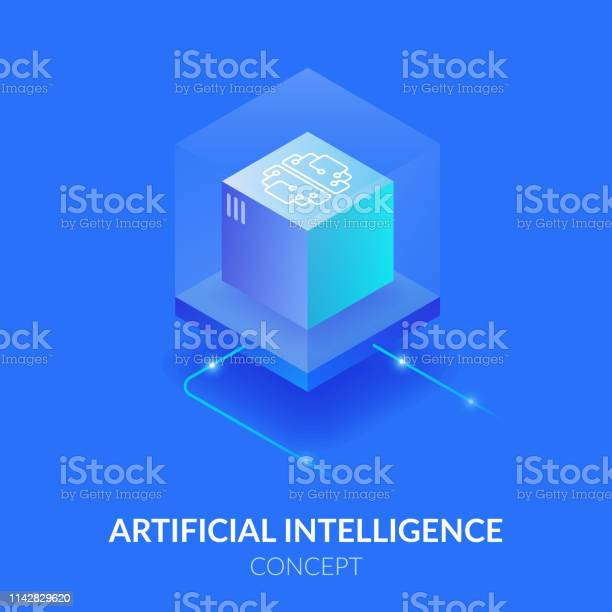 Concept Of Artificial Intelligence Machine Mind In The Form Of A Cube Processing A Large Amount Of Data The Virtual Reality Stock Illustration - Download Image Now