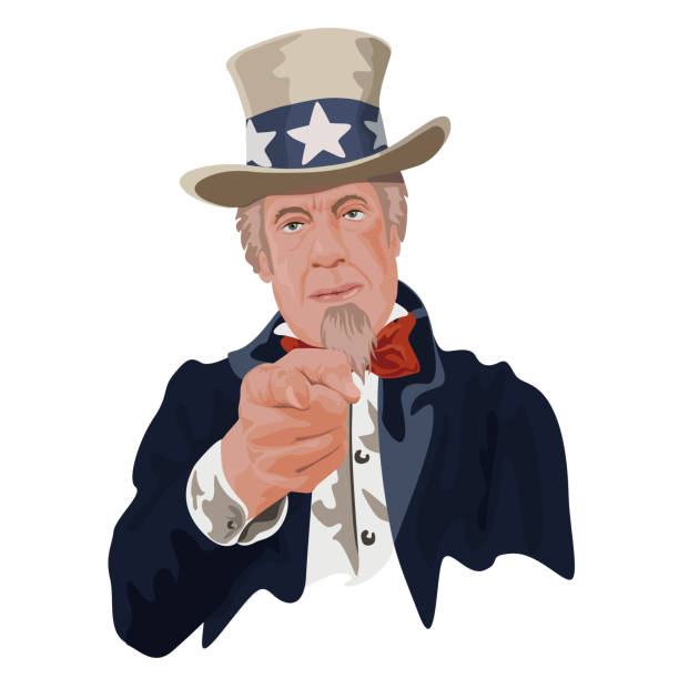 Concept of authority and patriotism with the symbol of Uncle Sam, one of the emblems of the United States. vector art illustration