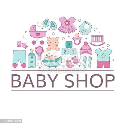 istock Concept of Baby shop with baby item icons. 1206920798