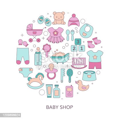 istock Concept of Baby shop with baby item icons. 1209898624