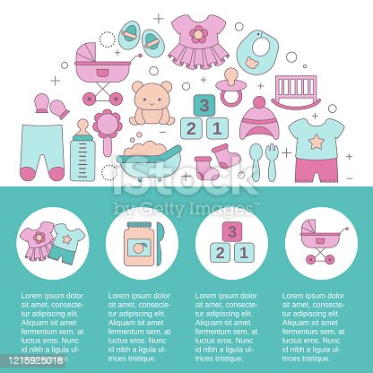 istock Concept of Baby shop with baby item icons. 1215925018