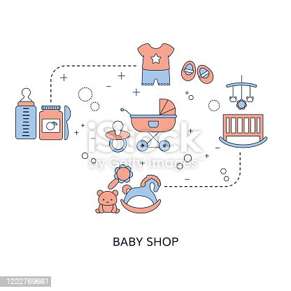 istock Concept of Baby shop with baby item icons. 1222769661